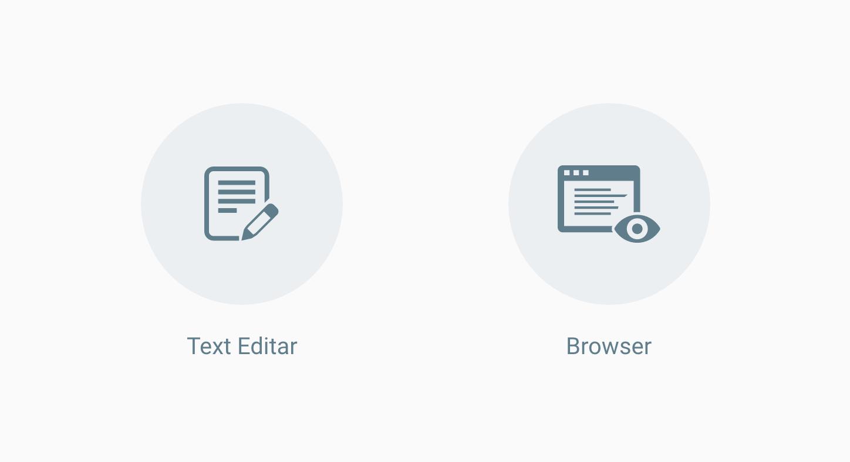 テキストエディタとブラウザがあれHTMLは開発できる